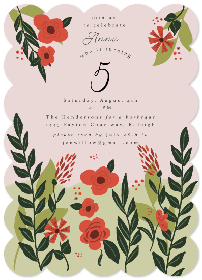 birthday party invitations - garden party joy by frances
