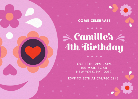 birthday party invitations - Dia de los Muertos by Maria Alou