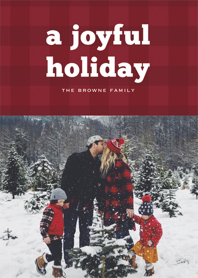 holiday photo cards - Joyful Bold Plaid by Gray Star Design
