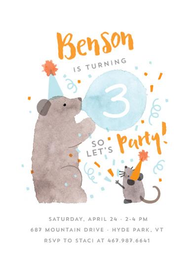 birthday party invitations - Party Bear by JeAnna Casper