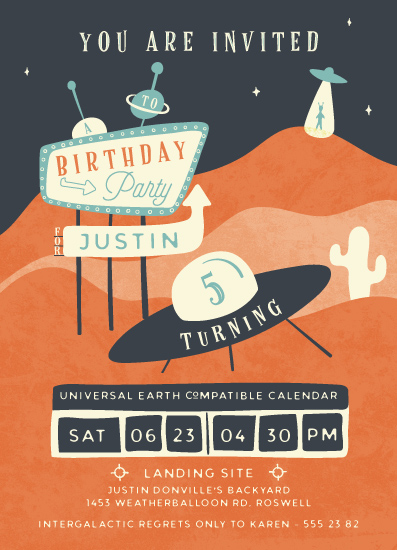 birthday party invitations - Roswell by Gwen Bedat