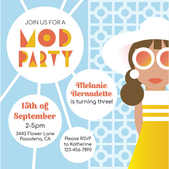 birthday party invitations - Mod Party by Korinn Sandberg