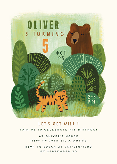 birthday party invitations - Bear and Tiger by iamtanya