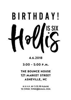 Classic Black and White Birthday Invite