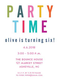 Party Time Kids Birthday Invite