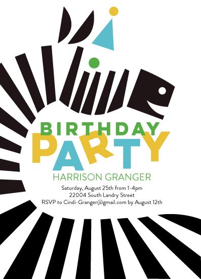 birthday party invitations - Happy Zebra by Just Eleanor