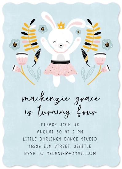 birthday party invitations - Ballerina Bunny by Noonday Design