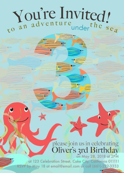 birthday party invitations - Under The Sea Adventure by Vani Gupta