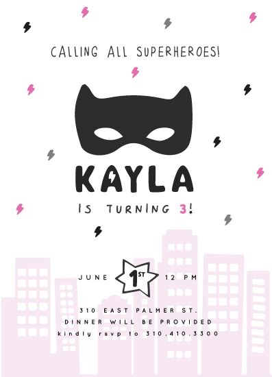 birthday party invitations - Superheroes in Pink by Maggie Maeve