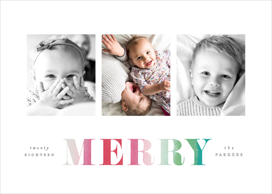 holiday photo cards - Merry Dip Dye by Hooray Creative