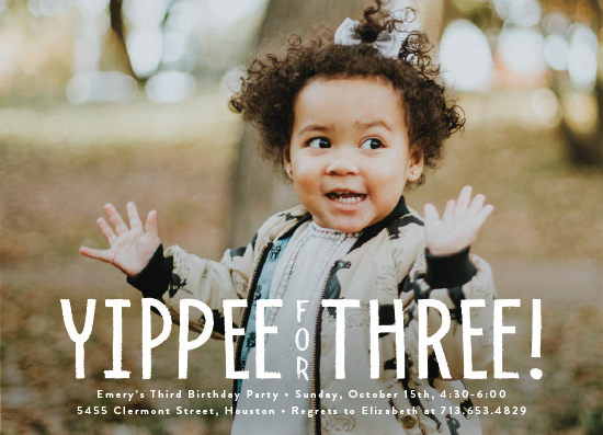 birthday party invitations - yippee for three! by Susan Asbill
