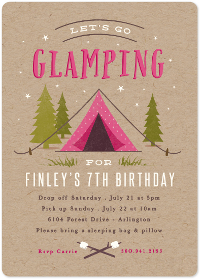 birthday party invitations - Let's go glamping by Karidy Walker