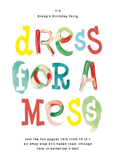 birthday party invitations - Dress for a mess by Baumbirdy