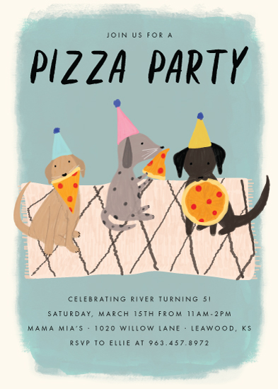 birthday party invitations - Puppy Pizza Party by Stephanie Given