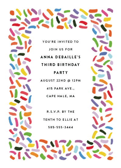 birthday party invitations - Confetti Sprinkle by Up Up Creative