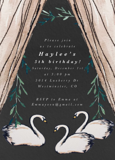 birthday party invitations - Swan Garden by Still and Mundane