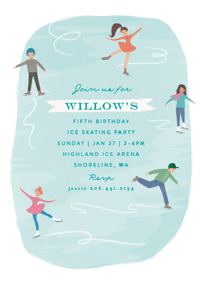 birthday party invitations - playful ice rink by Karidy Walker