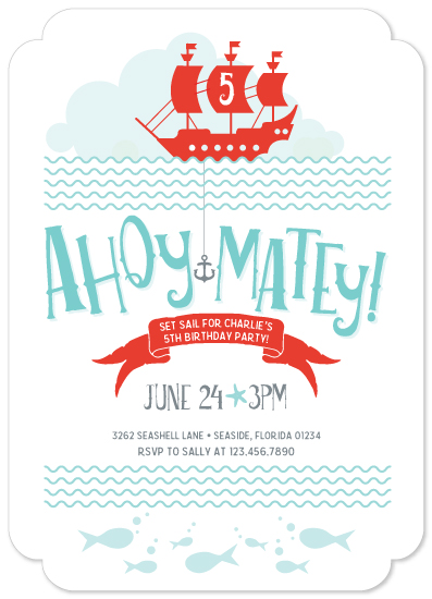 birthday party invitations - Ahoy Mateys! by Tracy Wagner