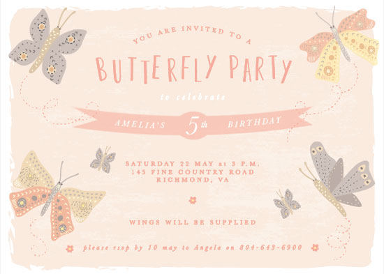 birthday party invitations - Butterfly Party by Jan Shepherd