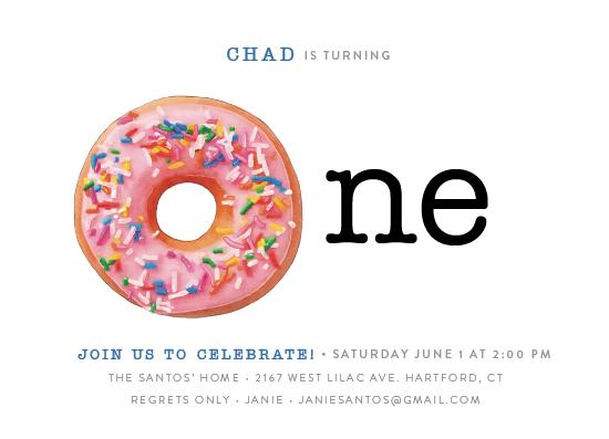 birthday party invitations - donut one by Cassandra Imagines