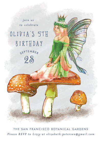 birthday party invitations - Faerie Flutter by Cassandra Imagines