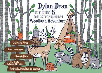 Woodland Adventure Boy's Birthday Party Invitation