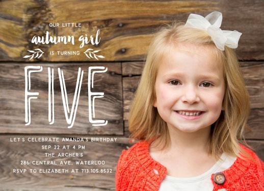 birthday party invitations - Autumn Girl by Kann Orasie