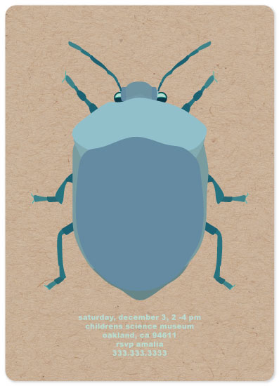 birthday party invitations - beetle time by elena diaz