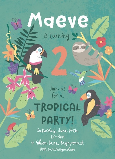birthday party invitations - Pura Vida by peetie design