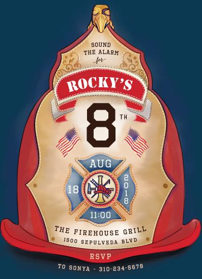 birthday party invitations - Fireman Helmet by Becky Nimoy