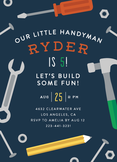 birthday party invitations - Handy Man by Ink and Letter