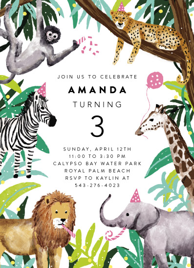 birthday party invitations - jungle party by Cass Loh