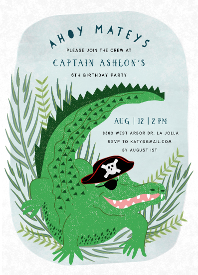 Birthday Party Invitations Pirate Alligator At Minted Com