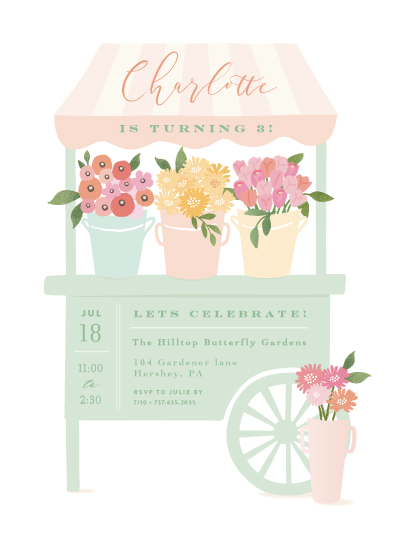 birthday party invitations - Petite flower cart by Jennifer Wick