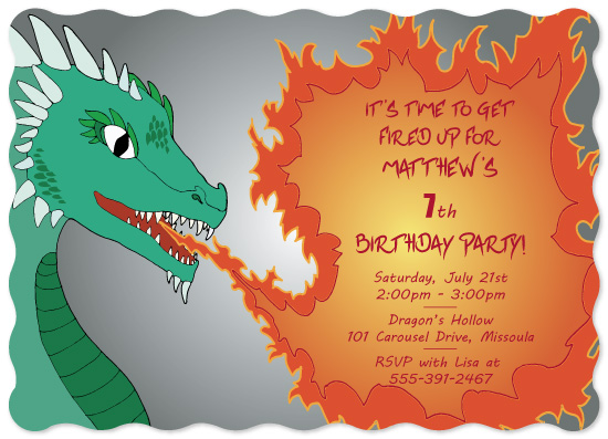 birthday party invitations - Fire Breathing Dragon by Karin Weston