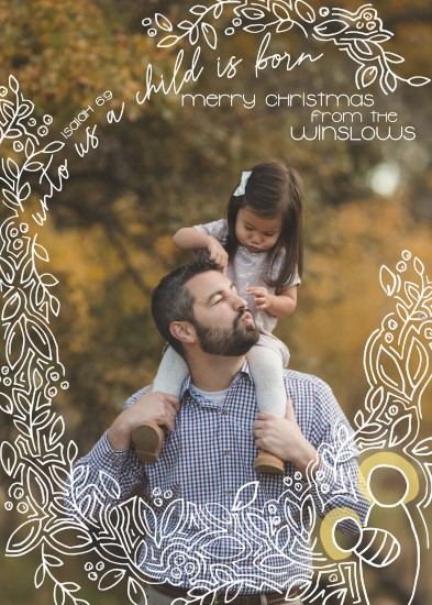 holiday photo cards - Unto Us a Child is Born by Amy MacCready