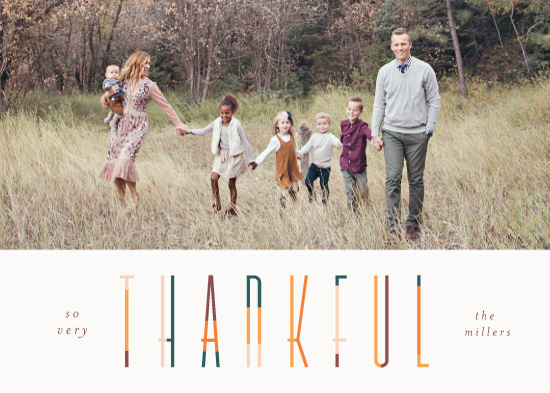 holiday photo cards - colorful thankful by Pixel and Hank