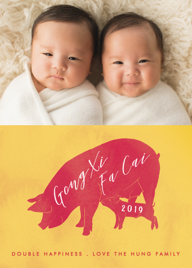 holiday photo cards - Pig and Piglet by Becky Nimoy