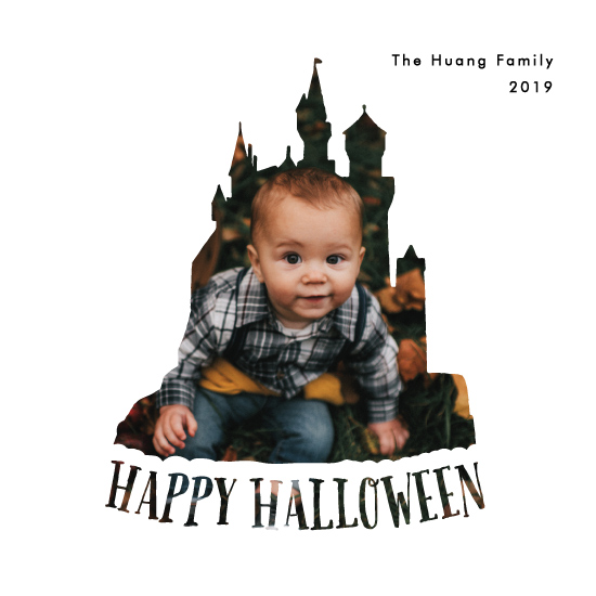 holiday photo cards - Happy Halloween Haunted Castle by Becky Nimoy