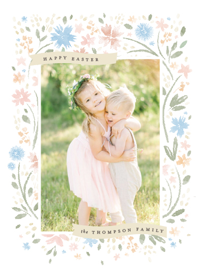 holiday photo cards - Floral Easter Frame by Robert and Stella