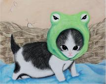 Kitten with Frog Hat by Saraya Lyons
