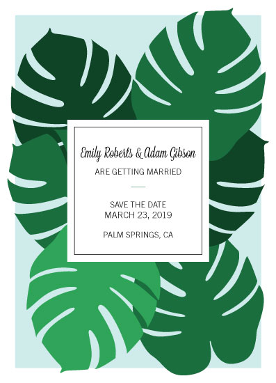 save the date cards - Monstera Leaves by Sarah Cohn