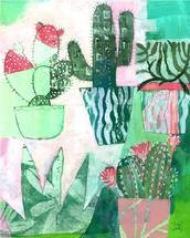 Cheery Cactus Collage by Michele Norris
