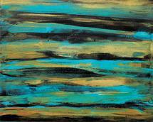 Golden Turquoise Stripe... by Kathy Par