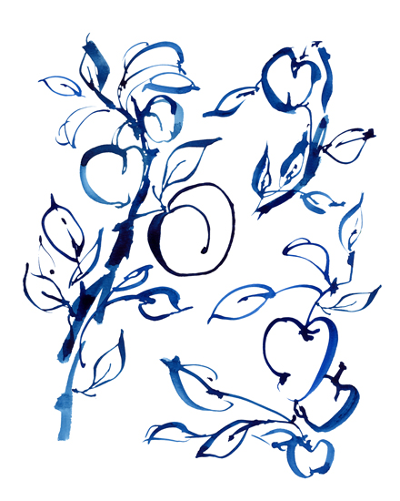art prints - Apple Branches in Prussian Blue by Jean Choe