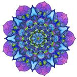 Bud Mandala in Blue and... by Ronni L Brown