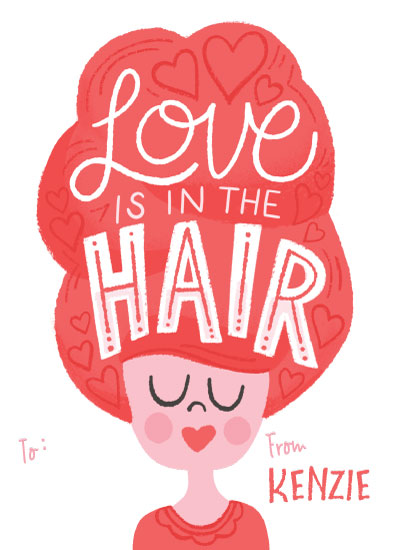 valentine's cards - Love is in the Hair by Jessie Steury