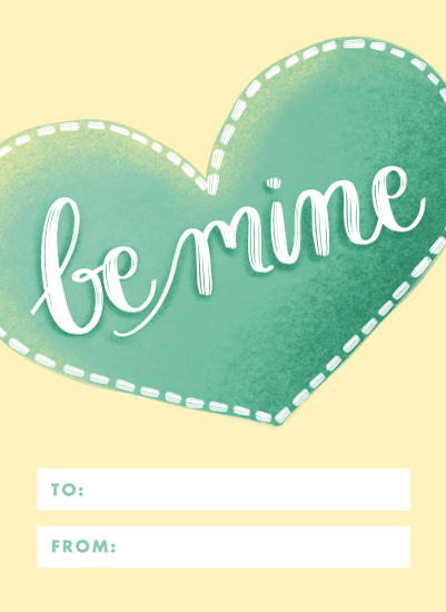 valentine's cards - Hand Lettered Be Mine Heart by Becky Nimoy