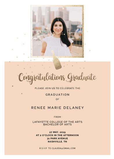graduation announcements - Grad Golden Bottle Invitation by Coit Creative