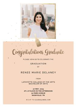 Grad Golden Bottle Invitation
